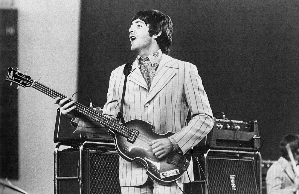 Paul McCartney performing with the Beatles in the US, 1966.