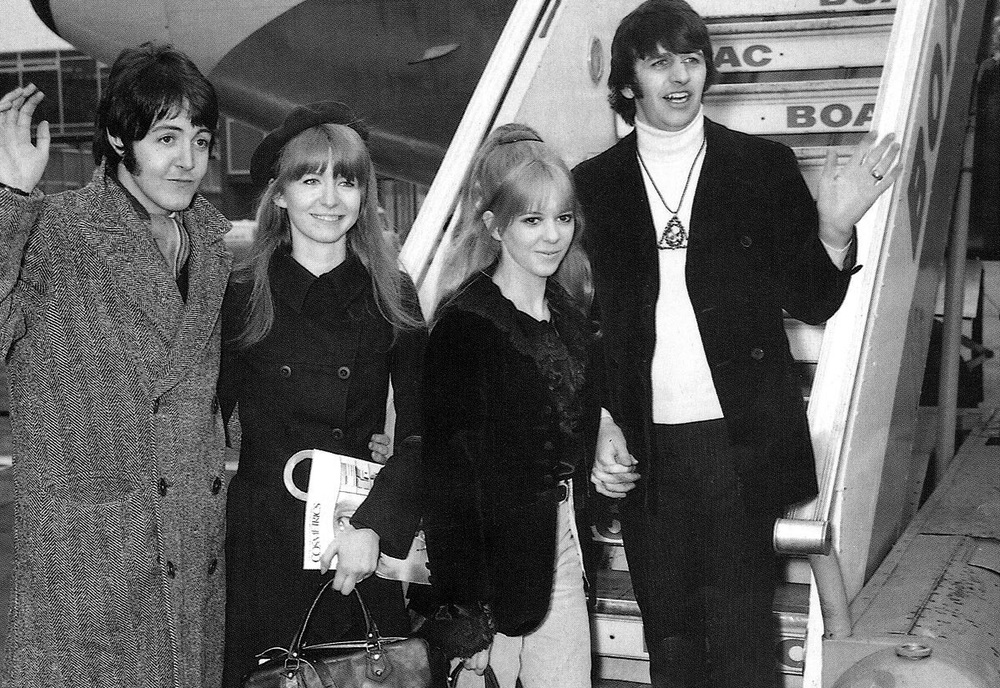 Paul McCartney, Jane Asher, Maureen and Ringo Starr, 1968.