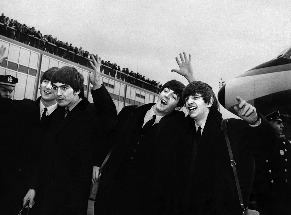 The Beatles arrive at JFK Airport to begin their American invasion, February 7th 1964.