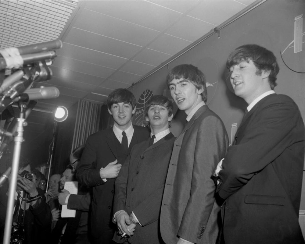 The Beatles give their first American press conference at JFK Airport, February 7th 1964.