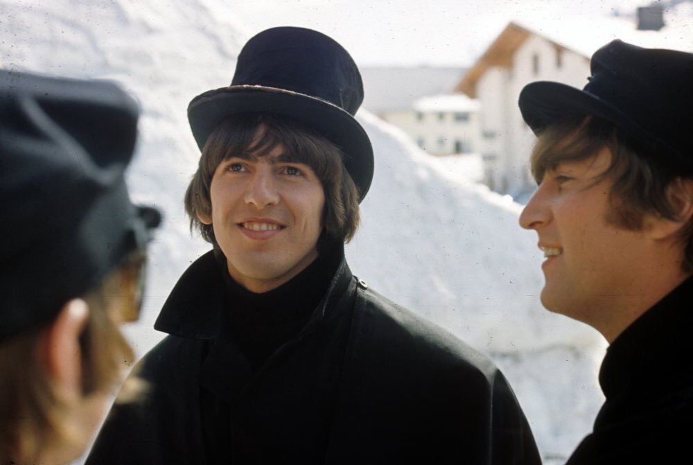 George Harrison, Ringo Starr and John Lennon filming Help! in Austria, 1965.