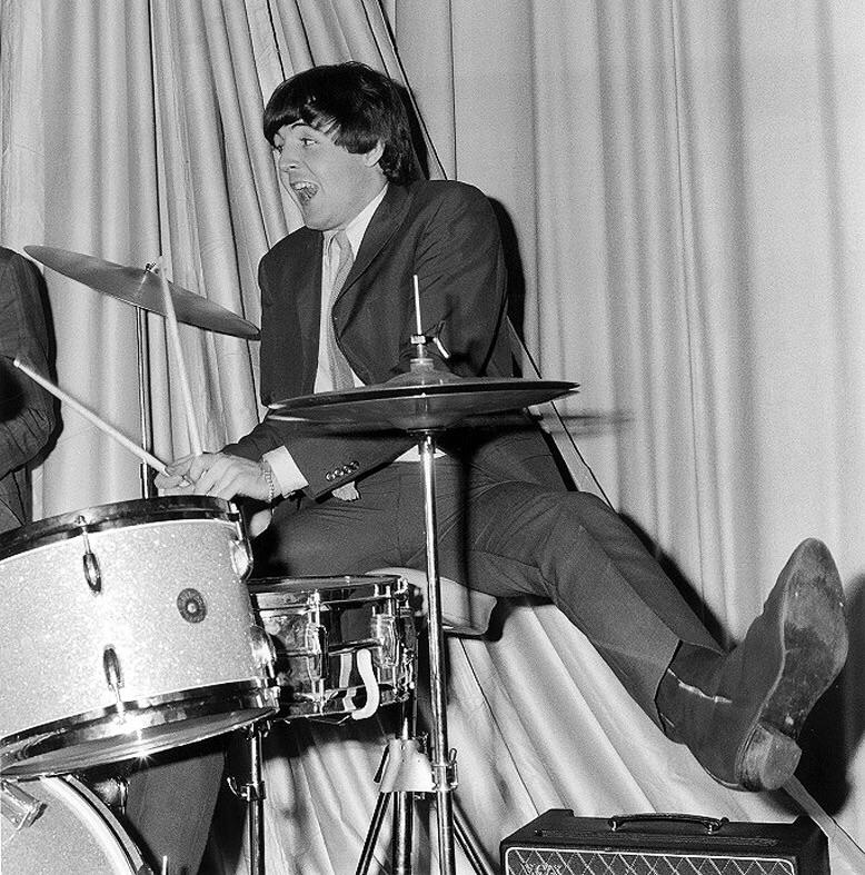 Paul McCartney on drums, 1964.
