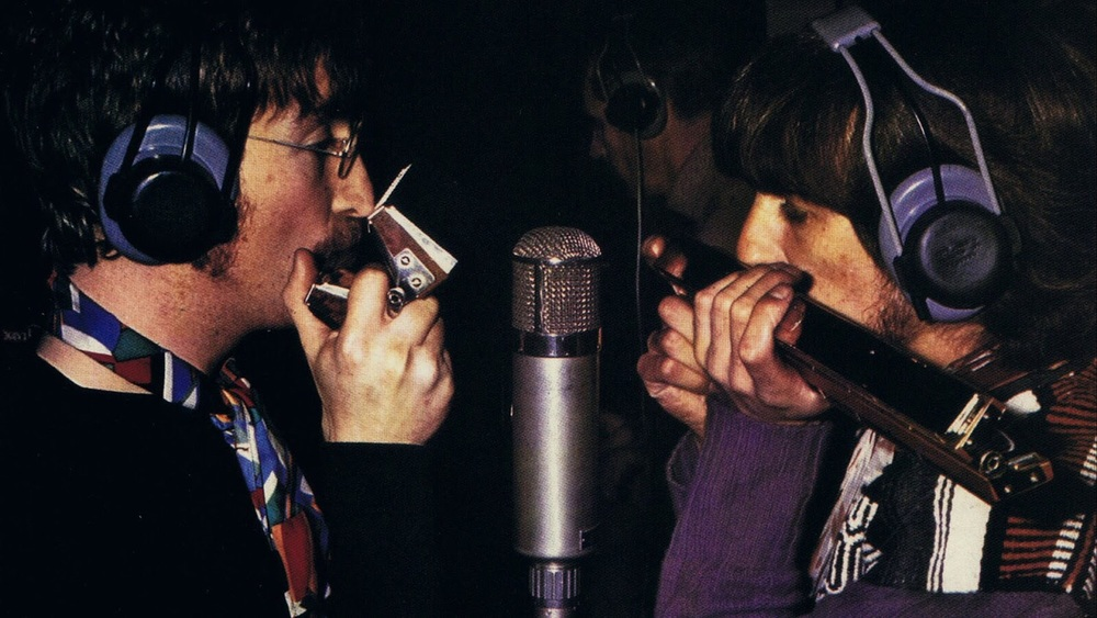 John Lennon and George Harrison recording Being for the Benefit of Mr. Kite!, 1967.