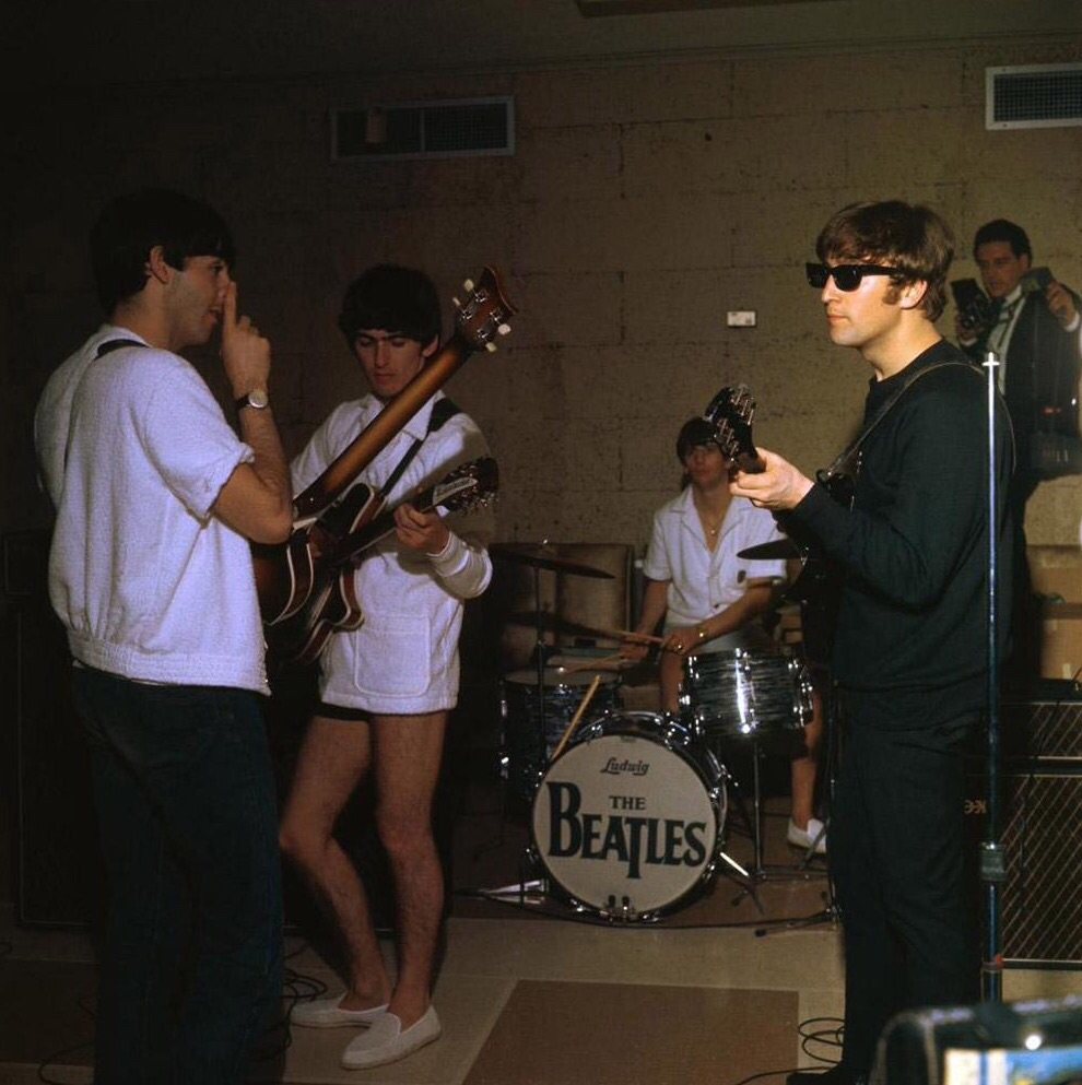 The Beatles rehearsing for their second appearance on the Ed Sullivan Show in Miami, February 14th 1964.