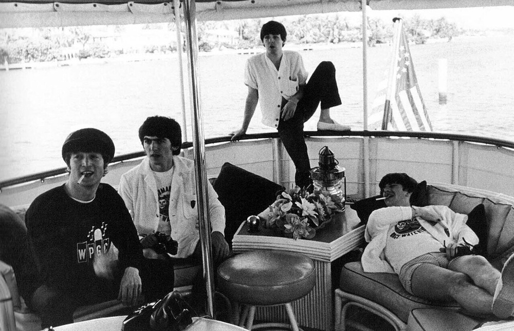 The Beatles in Miami Harbor on a boat loaned to them by Bernard Castro, February 14th 1964.