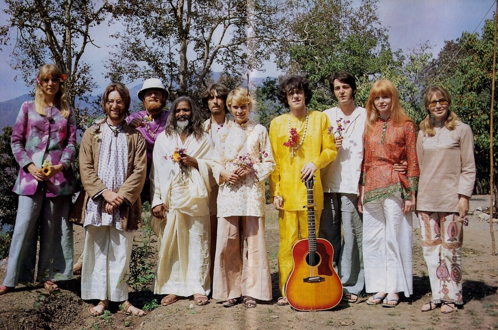 The Beatles and their partners with Donovan, Mike Love and Mia Farrow in India, 1967.