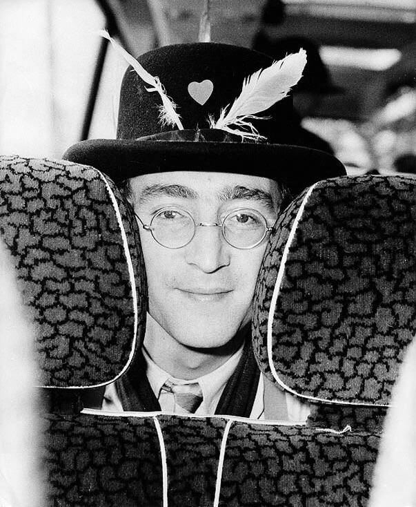 John Lennon aboard the Magical Mystery Tour bus, 1967.