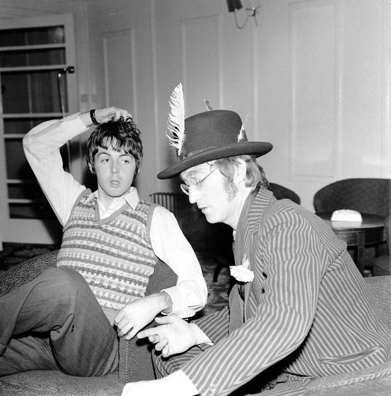 Paul McCartney and John Lennon on the set of Magical Mystery Tour, 1967.