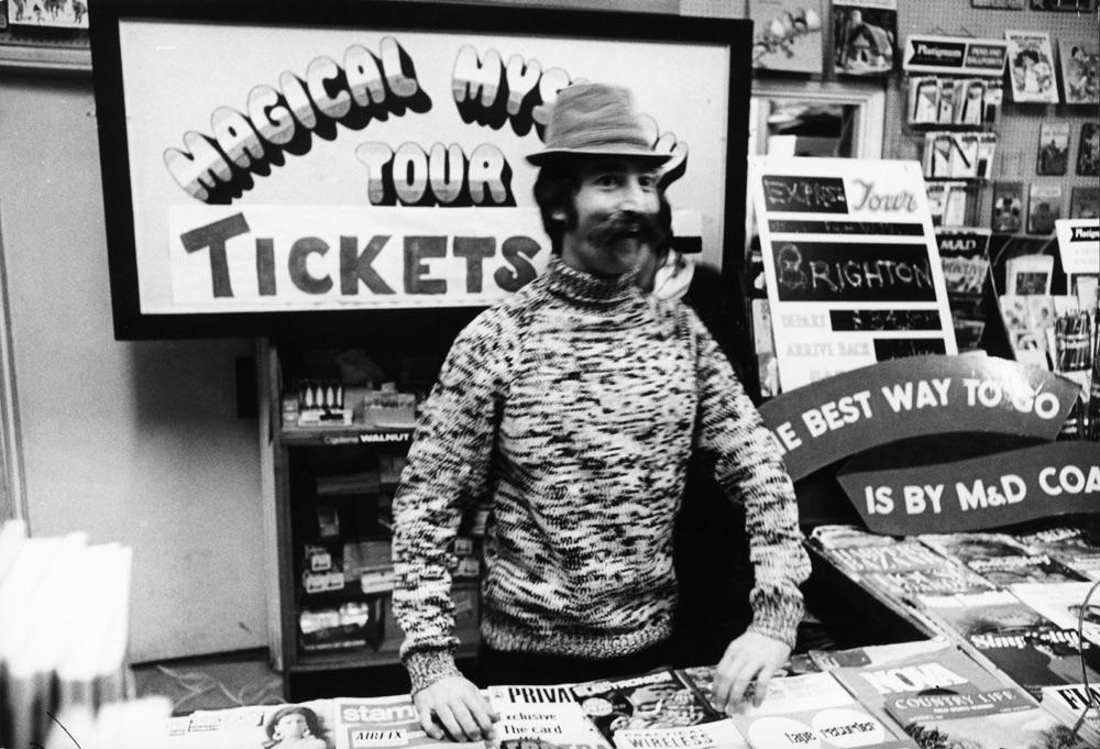 John Lennon filming the ticket scene for Magical Mystery Tour, 1967.