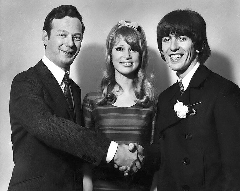 Brian Epstein, George Harrison and Pattie Boyd, 1966.