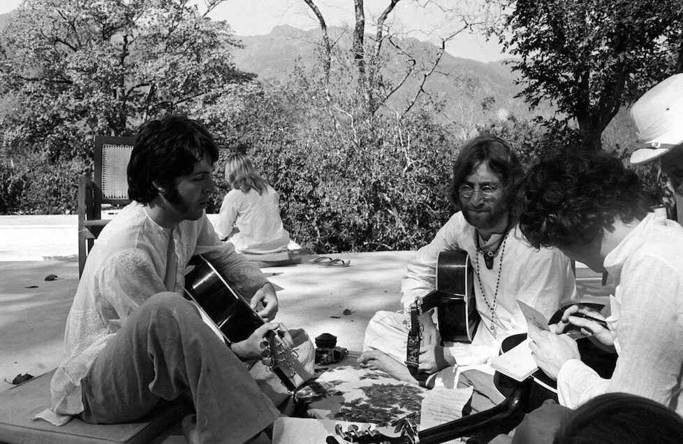 Paul McCartney, John Lennon and Donovan in India, 1968.
