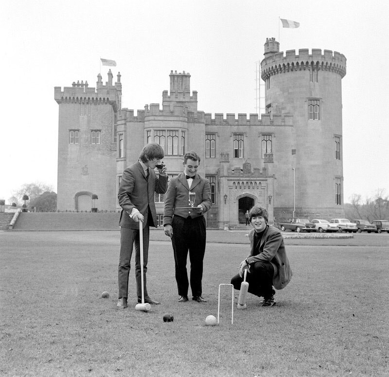 George Harrison and John Lennon at Dromolan Castle, County Clare, March 1964.