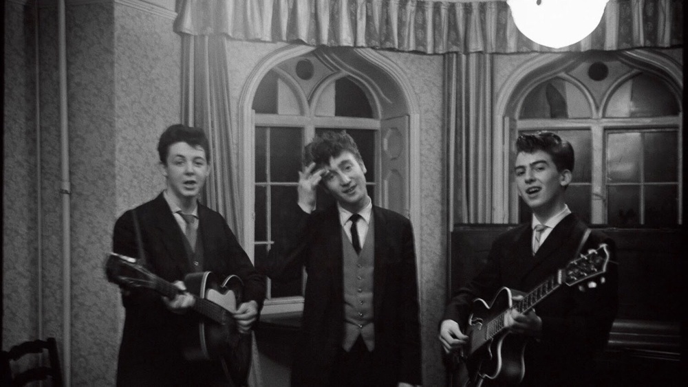 Paul McCartney, John Lennon and George Harrison in Speke, 1958.