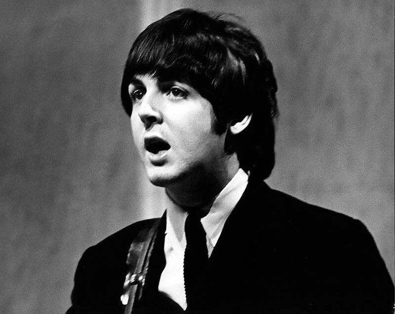 Paul McCartney performing with the Beatles, 1964.