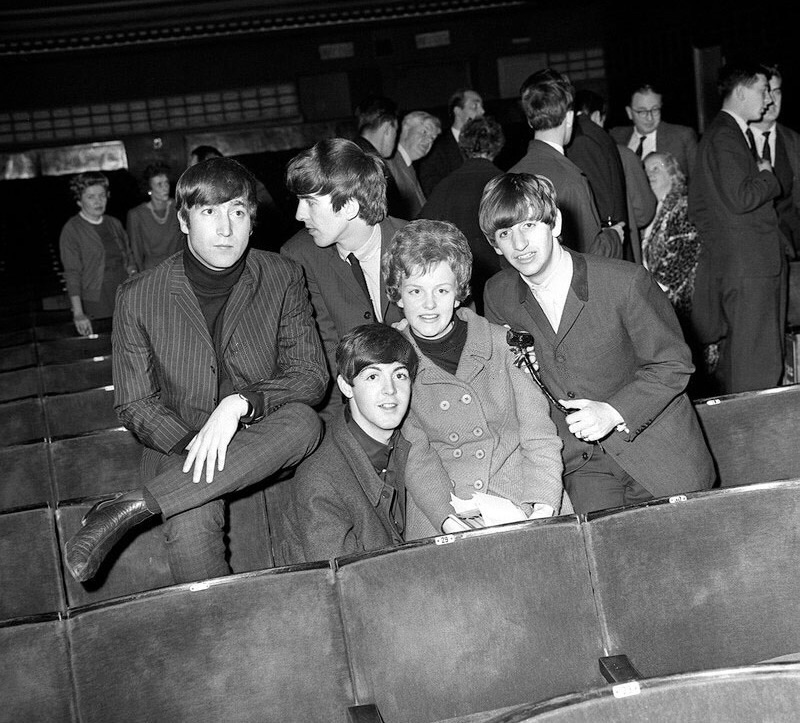 The Beatles with one lucky fan, 1963.