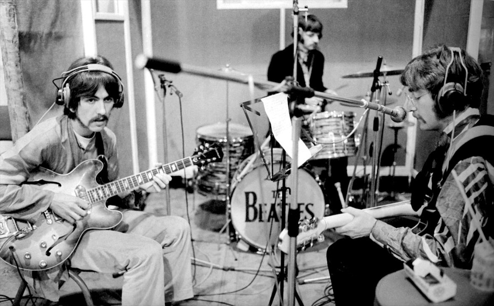 The Beatles recording Lucy in the Sky with Diamonds, March 1967.