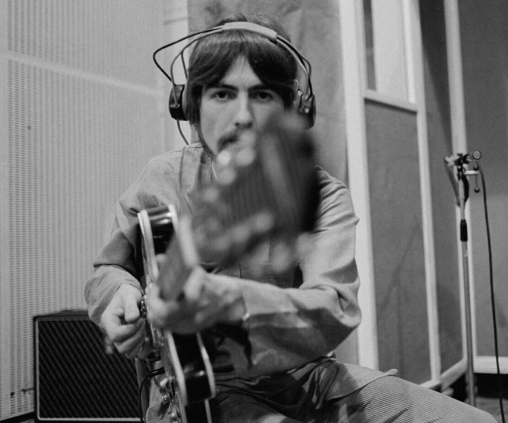 George Harrison recording Lucy in the Sky with Diamonds, March 1967.