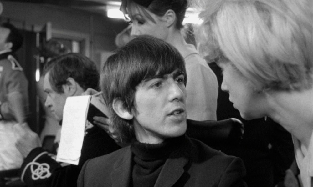 George Harrison filming A Hard Day's Night at Twickenham Film Studios, 1964.
