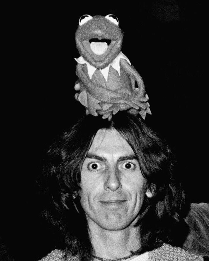 George Harrison with Kermit the Frog.