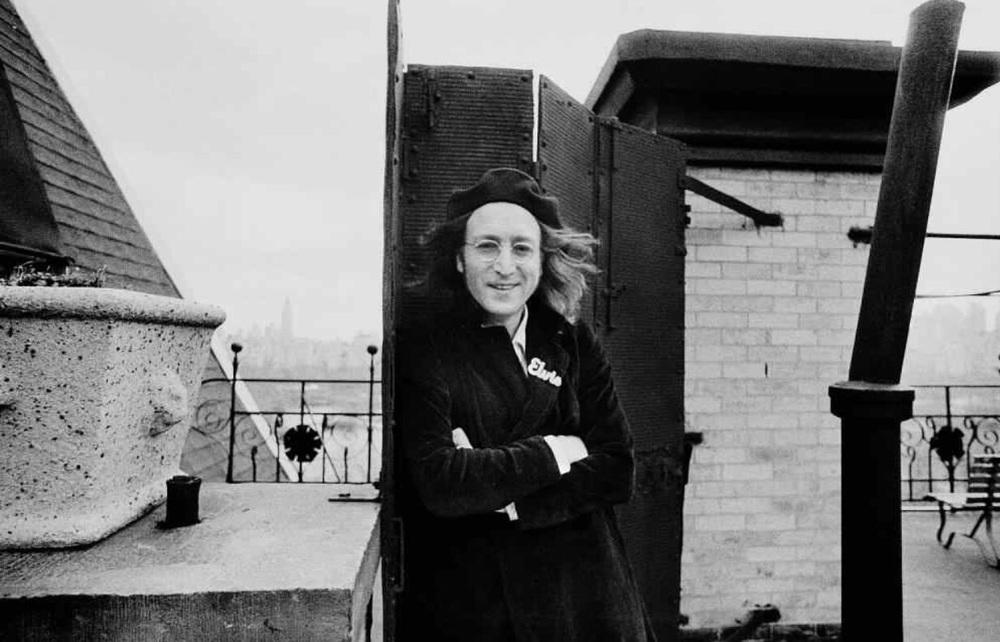 John Lennon on the roof of the Dakota, 1975.