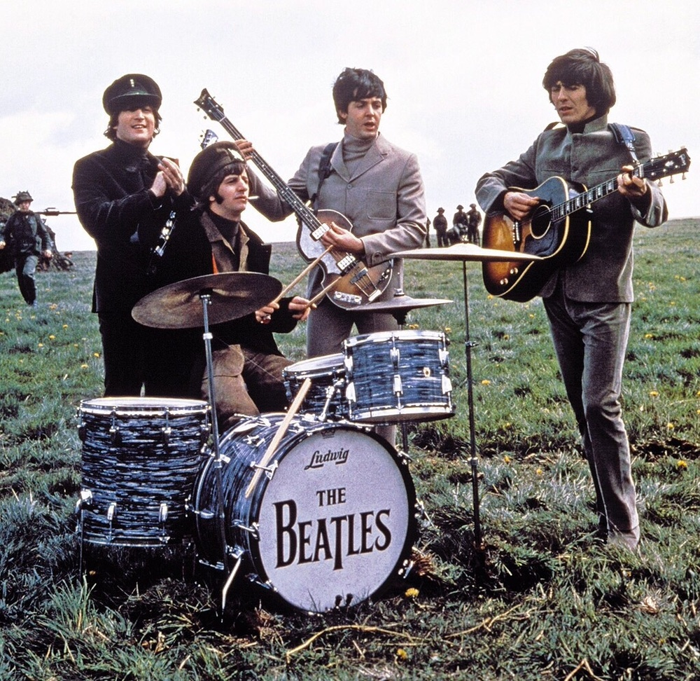 The Beatles filming Help! on the Salisbury Plain, Wiltshire, May 1965.