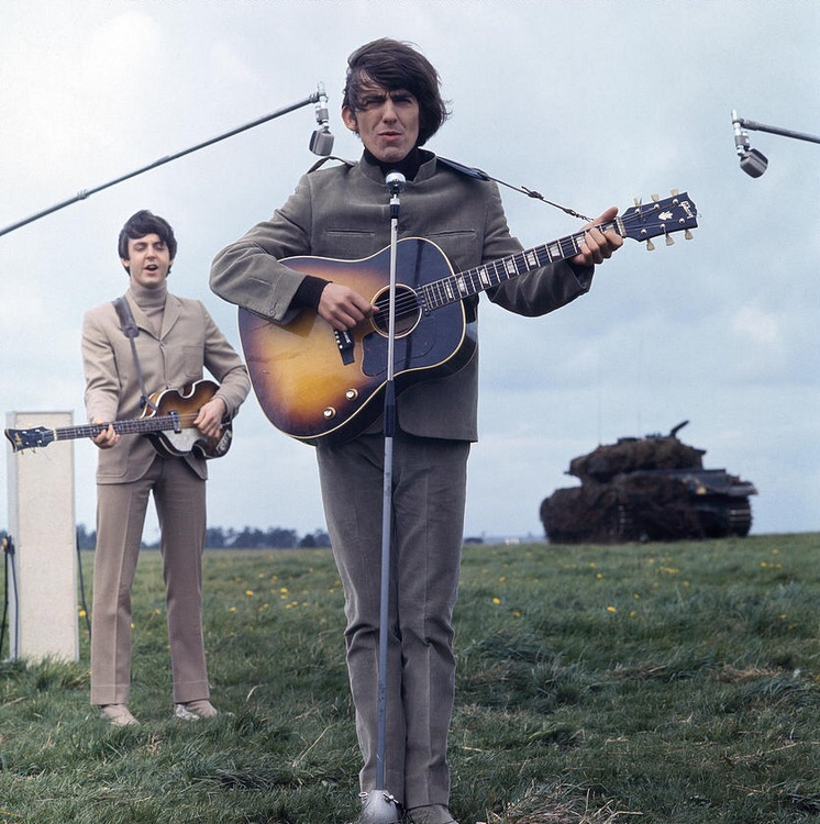Paul McCartney and George Harrison filming Help! on the Salisbury Plain, Wiltshire, May 1965.