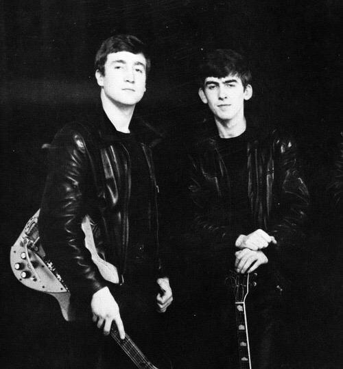 John Lennon and George Harrison, circa 1961.