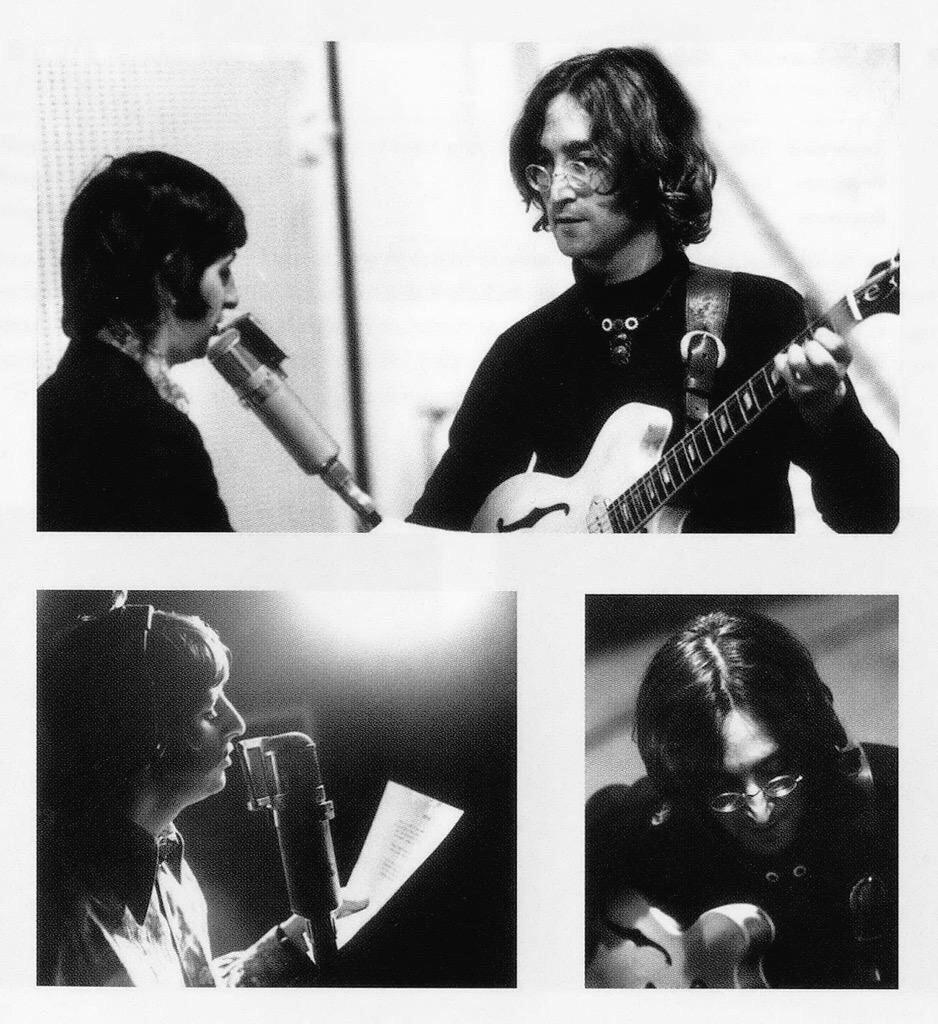 John Lennon and Ringo Starr recording the White Album, 1968.