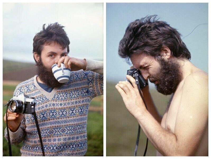 Paul McCartney on his Scottish farm, circa 1970.