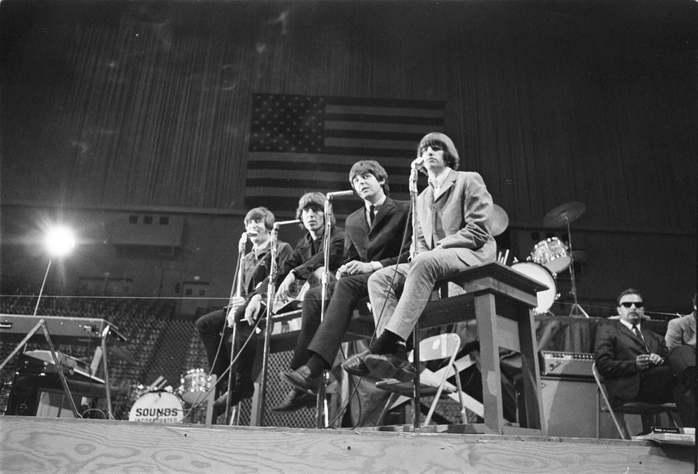 The Beatles holding a press conference at the Cow Palace, San Francisco, August 31st, 1965.