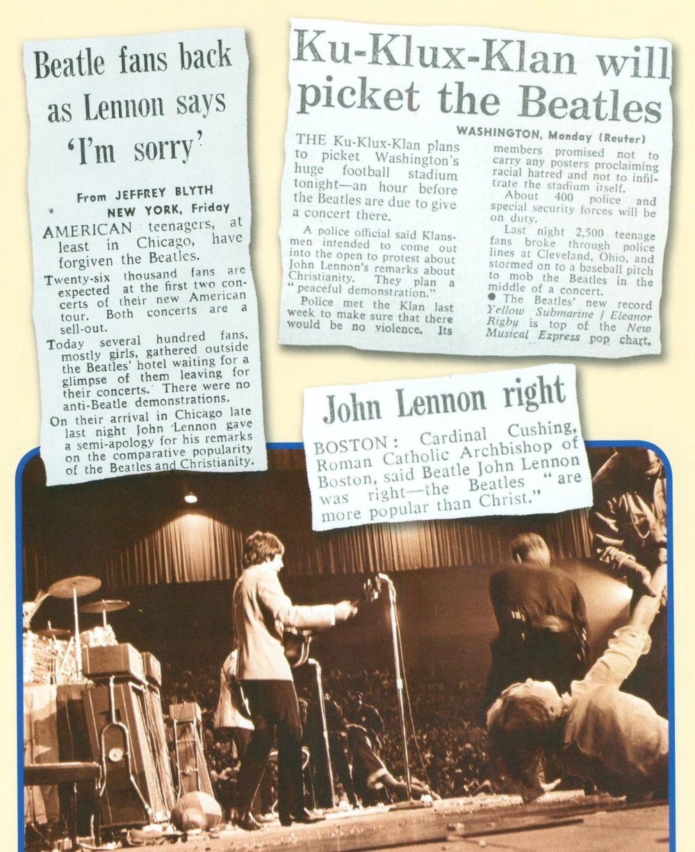 Newspaper headlines after John Lennon's remarks about Christianity.