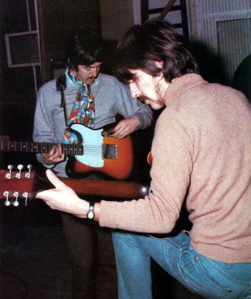 Paul McCartney and George Harrison working on Sgt. Pepper, 1967.