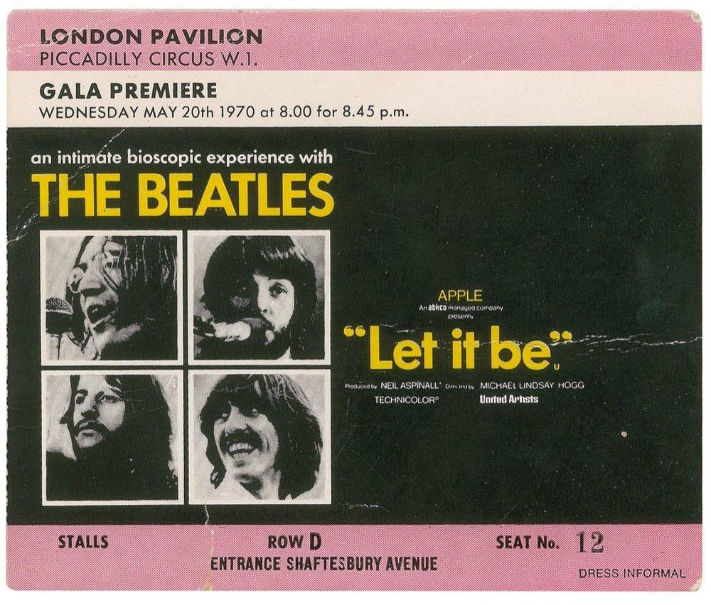 Let It Be cinema ticket stub.
