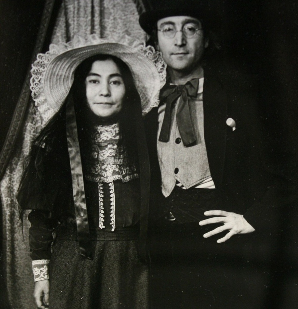 John Lennon and Yoko Ono dressed in 19th century clothing in Massachussets, 1977.