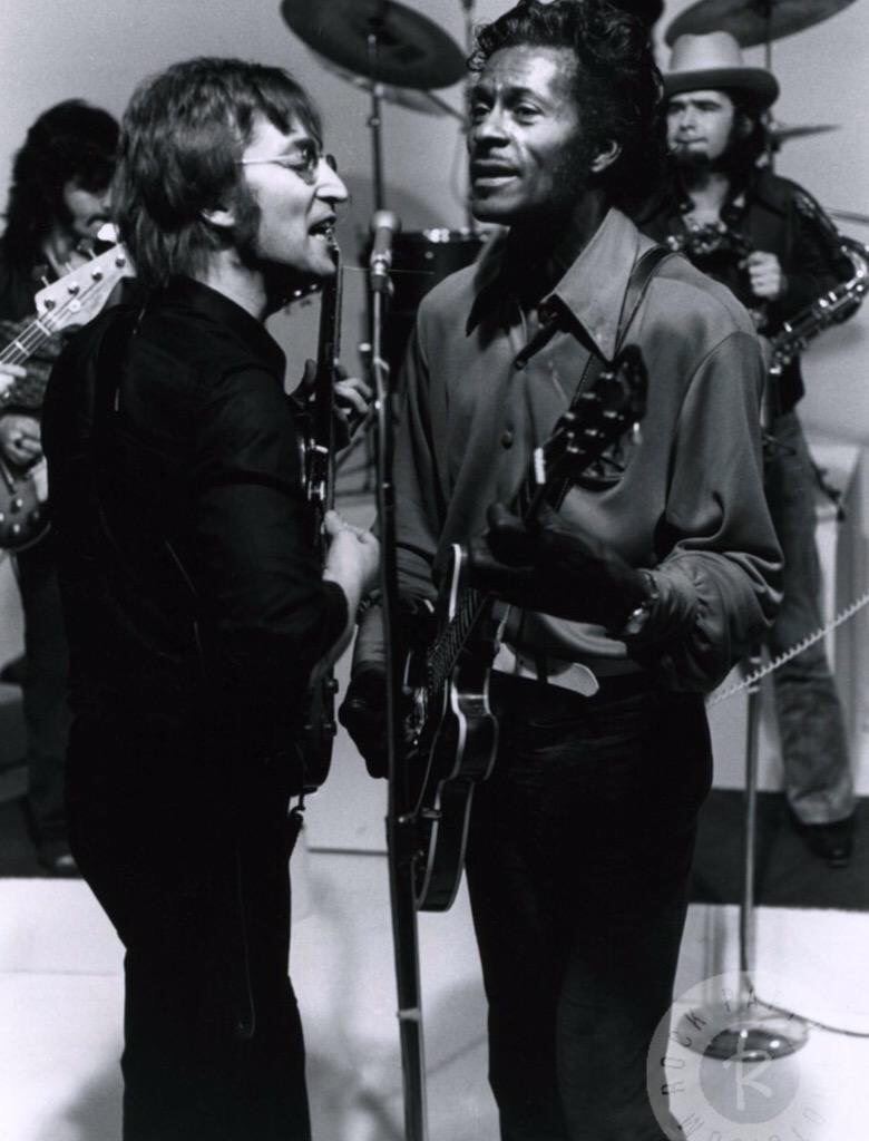 John Lennon performing with his hero Chuck Berry, 1972.