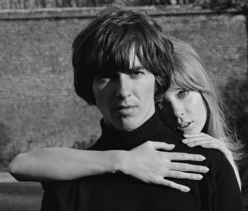 George Harrison and Pattie Boyd at their bungalow in Surrey, 1965.