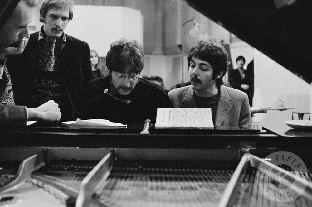John Lennon, Paul McCartney and George Martin working on Sgt. Pepper, 1967.
