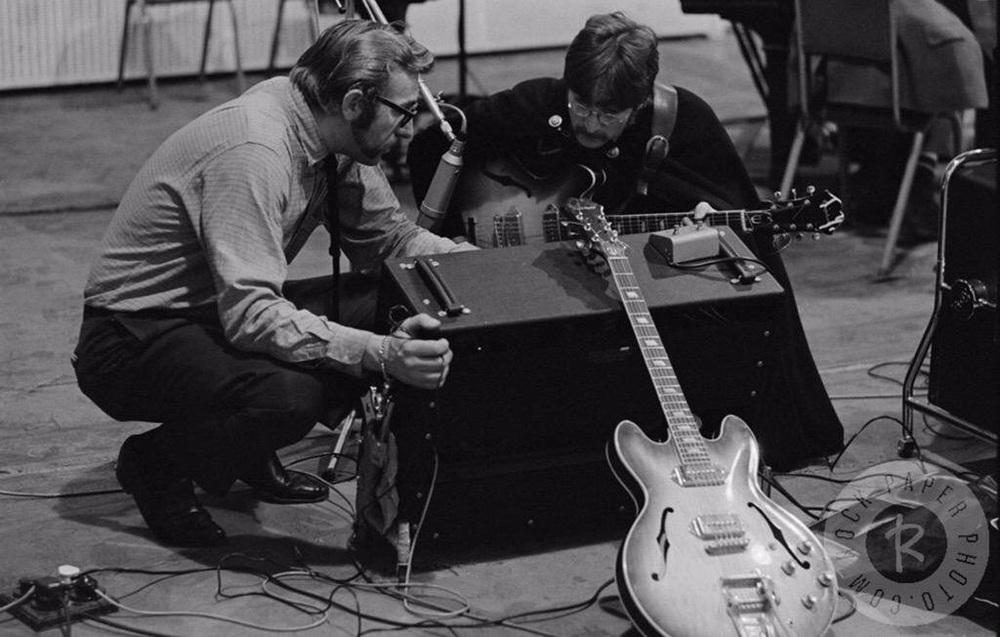 John Lennon and Mal Evans at a Sgt. Pepper session, 1967.