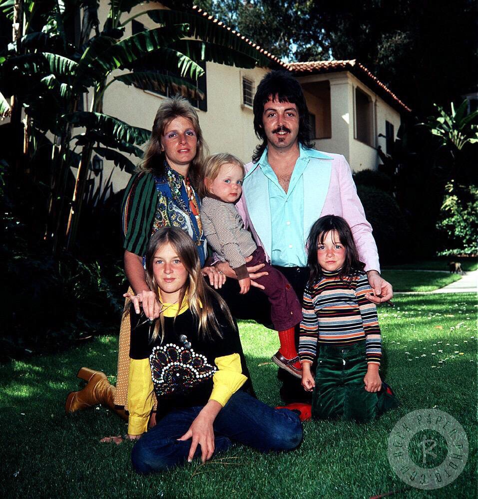 Paul McCartney in Beverly Hills with his family, 1975.
