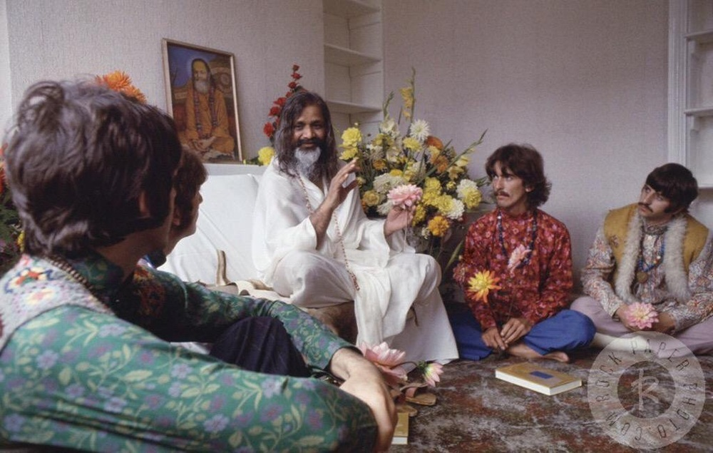 The Beatles with Maharishi Mahesh Yogi in Bangor, Wales, August 1967.