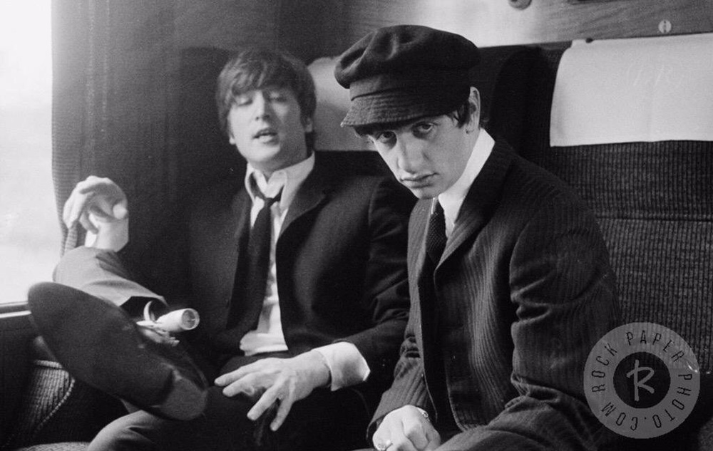 John Lennon and Ringo Starr filming A Hard Day's Night, 1964.