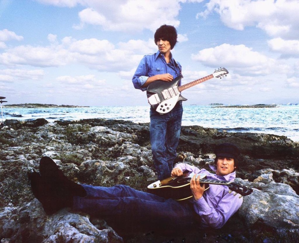 John Lennon and George Harrison filming Help! in the Bahamas, 1965.