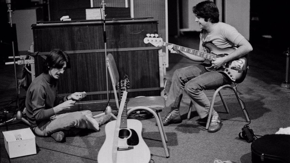 George Harrison and Paul McCartney working on the White Album, 1968.