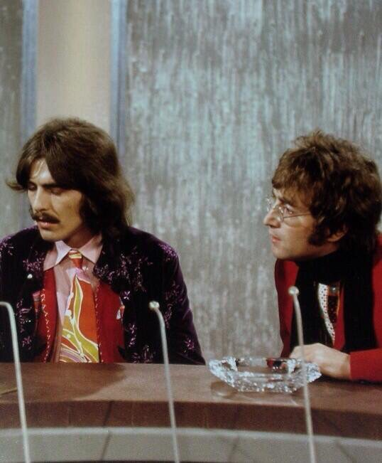 George Harrison and John Lennon being interviewed by David Frost, September 29th 1967.