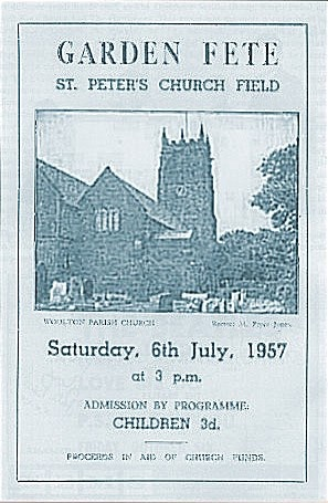 Poster for the day's performances at St Peter's Church Hall fêt, July 6th 1957.