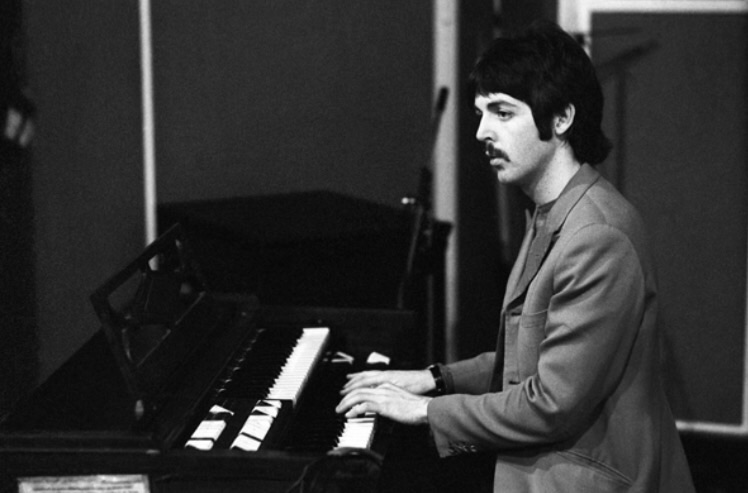 Paul McCartney recording Sgt. Pepper's Lonely Hearts Club Band, 1967.