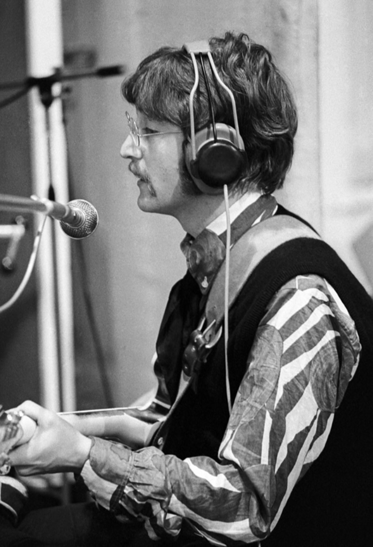John Lennon recording Sgt. Pepper's Lonely Hearts Club Band, 1967.