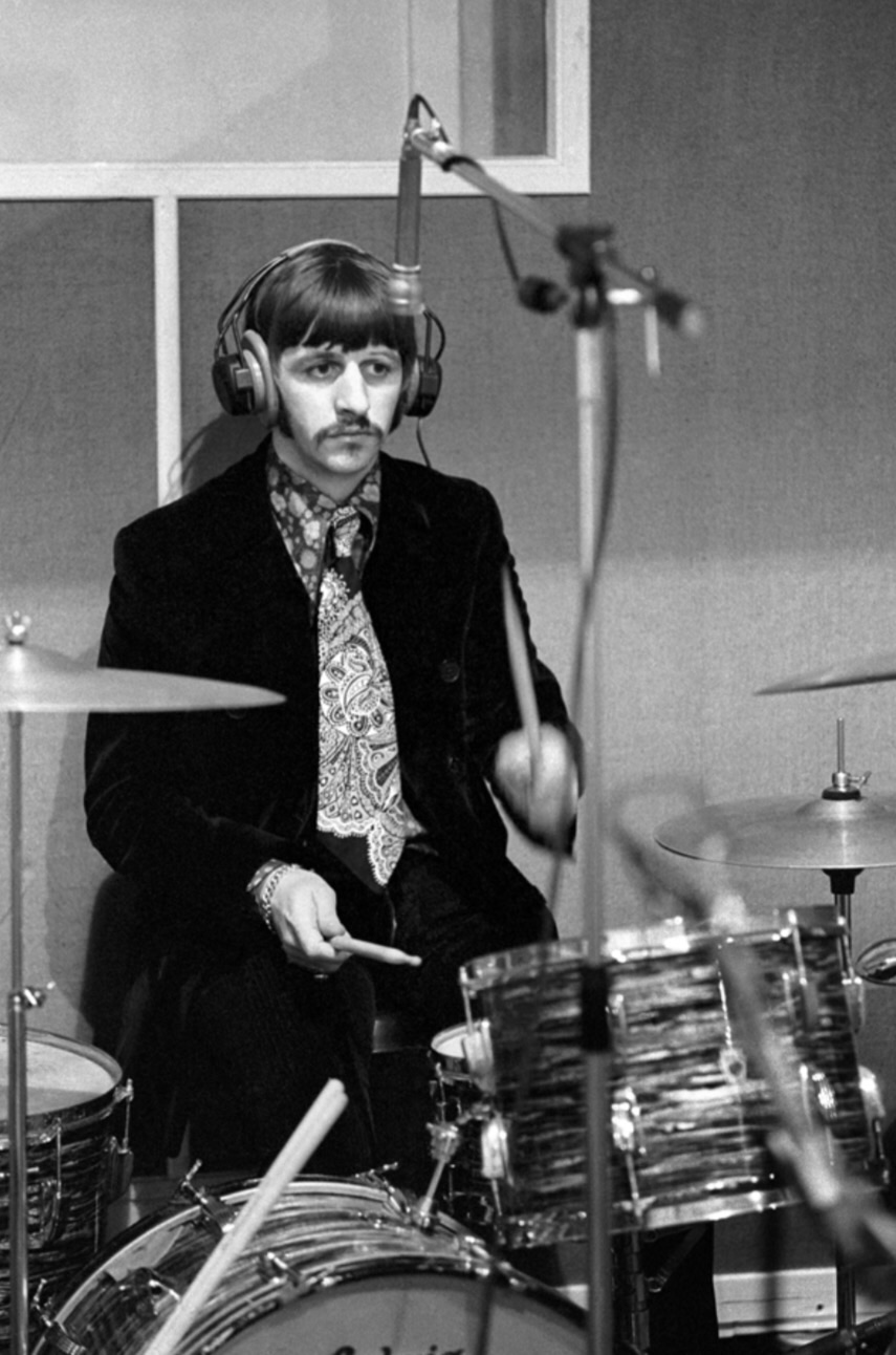 Ringo Starr recording Sgt. Pepper's Lonely Hearts Club Band, 1967.