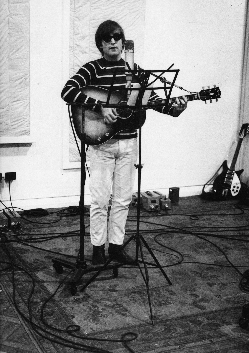 John Lennon during a Beatles for Sale recording session, 1964.