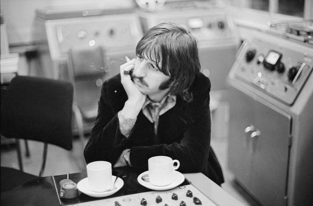 Ringo Starr taking a break during a White Album session, 1968.